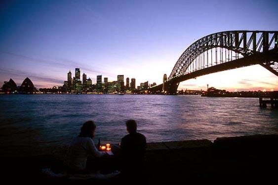 Sunset picnic, Sydney Harbour