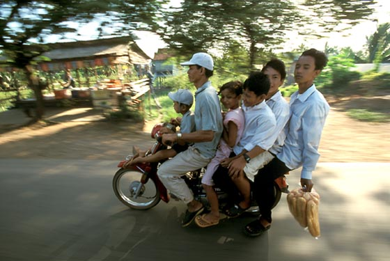 Six-pack on a moped, Phnom Penh