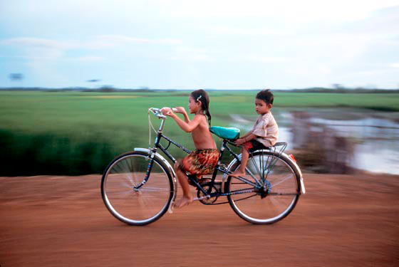 little kids, big wheels, Cambodia