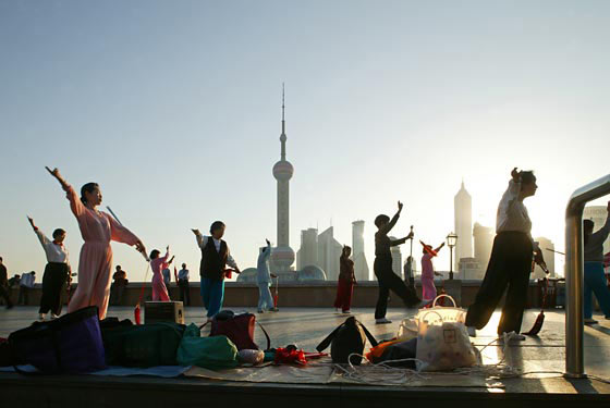 Morning exercises on the Bund