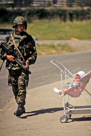 British soldier on patrol, Belfast