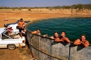 Cooling off in a cattle tank, Kimberley