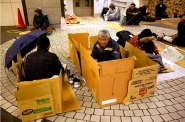 Carton as an overnight bedroom in Shinjuku station