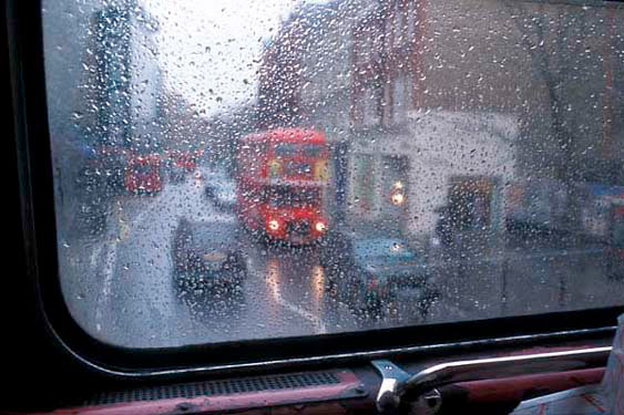 thru a London bus window