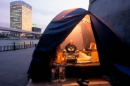 Homeless in his tent near Asahi Brewery, Sumida River