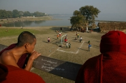 monks watch football