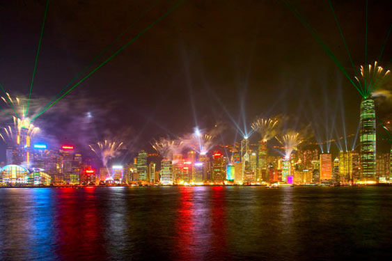 Fireworks above Hong Kong skyline