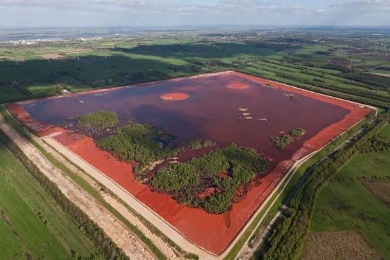 Red mud waste deposit near Stade